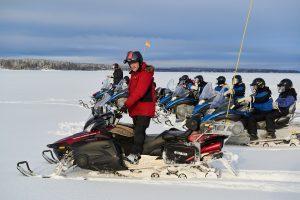 Patrik Carlman on snowmobile tour in Lulea Archipelago