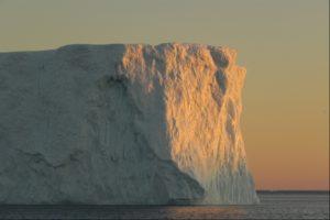 Iceberg seen on midnight sunset cruise from Ilulissat in Greenland