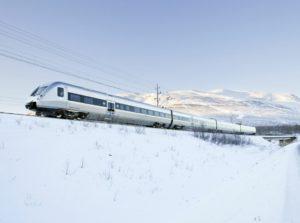 Train from Lulea to Kiruna in Sweden