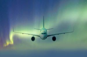 Plane with Aurora