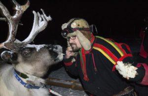 Hakan with reindeer