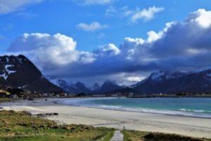 Waters edge and landscape in Lofoten