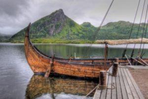 Wooden boat on the water in Lofoten