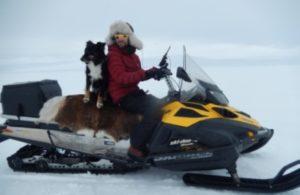 Mikko on snowmobile