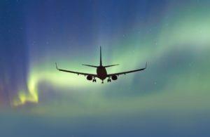 Northern Lights and Plane