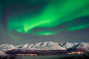 aurora over a fjoord