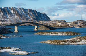 Bridges and roads in the Lofoten Islands