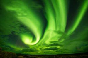 Iceland bright green Northern Lights