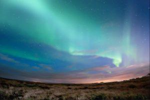 Northern Lights above the Icelandic landscape