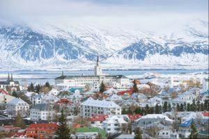 Winter snow in Reykjavik, Iceland