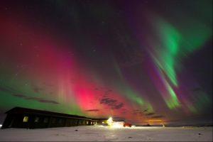 Iceland, coloured auroras