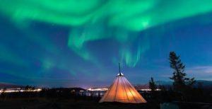 Northern Lights above Sami teepee