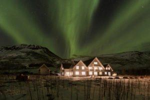 Northern Lights above Skalakot Hotel, Iceland