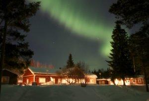 Northern Lights above Pine Bay Lodge, Lulea