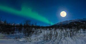 Sweden full moon aurora