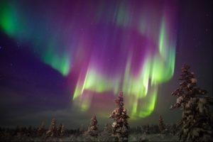Sweden, coloured Northern Lights
