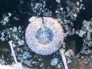an ariel view of the doughnut shaped arctic bath