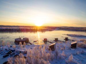 the Arctic Bath Swedish Lapand at dusk