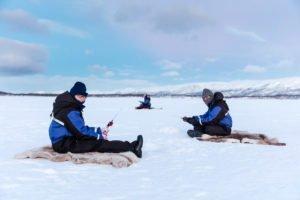 ice fishing in Swedish Lapland