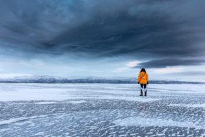 walking on Lake Tornetrask Abisko Sweden